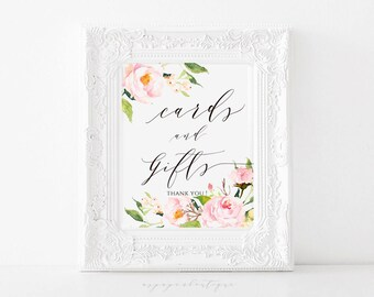Pink Peony Cards and Gifts Sign Cards and Gifts Printable Gift Table Sign Floral cards and gifts sign printable Wedding Sign CG01