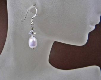 Freshwater Real Teardrop Pearl Earrings; White Natural Pearl Dangle Earrings; Anniversary Birthday Gift for her;  Wedding Pearl Accessory