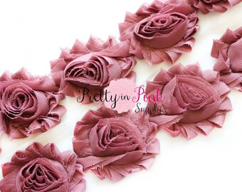 DARK MAUVE Shabby Rose Trim - Shabby Chiffon Rosettes - 1/2 Yard or 1 Yard - Shabby Flower Trim - Chiffon Flower - Shabby Flowers