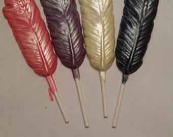 Chocolate feather lollipop favor
