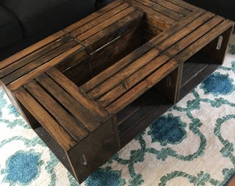 Large Wooden Crate Coffee Table - SEE DETAILS