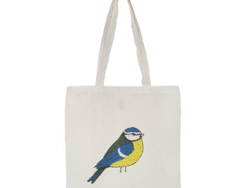 Blue Tit Reusable Shopping Bag Bird Eco Cotton Tote