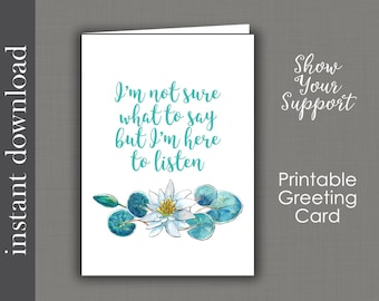 Sympathy Printable, printable card, support card, cancer card, friend card, get well card, encouragement, printable get well, card download