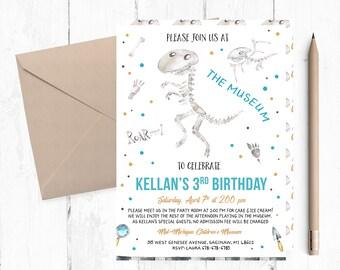 Dinosaur Birthday Invitation, Museum Invitation, Museum Birthday Party Invitations, Museum Invites, Explorer Invitations, Museum Invite,
