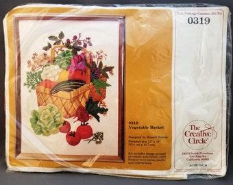 Creative Circle 0319, Vegetable Basket, Crewel Kit, Designed by Russell Bushee, 12x16 inches, 30.4x40.7 cm, Persian wool, DIY kit, 1979