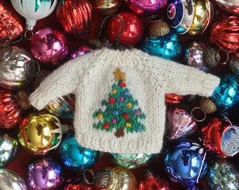 Decorated Christmas Tree Hand-Knit Sweater Ornament