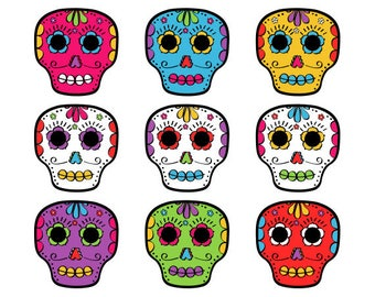 Day of the Dead Skulls Clip Art, Calaveras clipart, Día de Muertos Clip Art, Cinco De Mayo Clipart, Instant Download