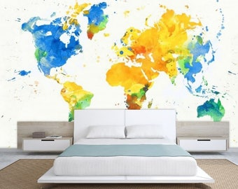 World Map Wall Mural Painting Wallpaper Colorful Watercolor