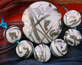 "Lampwork Set of 7 ""Tangle of Kittens"" Handmade Glass Focal Bead Set SRA ~ Sandblasted Iridescent Lustre Lentil & Spheres ~ Cool Neutrals"