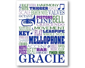 Mellophone Typography Poster, Mellophone Player Gift, Mellophone Gift, Mellophone Player Art, Marching Band Gift, Marching Band Art Print