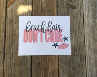 Beach Hair Don't Care Iron-On Vinyl Decal~ Glitter Iron-On Vinyl Decal~ Iron-On Vinyl Decal ~ Beach/Summer Iron-On Decal~ DIY SHIRT