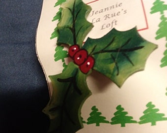 Holly and berries pin Christmas Tole
