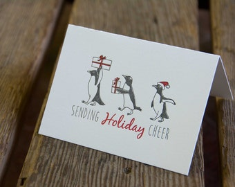 15 Penguin Holiday Cards, letterpress printed, penguins and presents, eco friendly