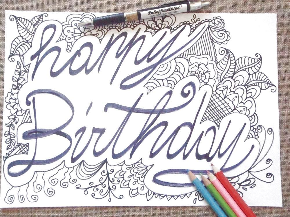 Buon compleanno da colorare per adulti bambini happy birthday - Libero compleanno da colorare pagine da colorare ...