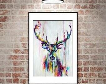 SALE!!!! animal wall art oil painting colorfull deer