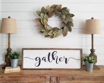 GATHER sign. Rustic framed sign. Framed wood sign. Dining Room. Kitchen. Wooden Sign. Farmhouse Style. Home Decor.