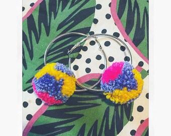 Tri coloured pompom hoop earrings