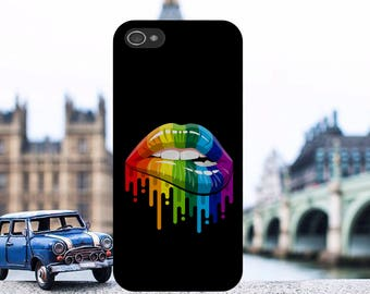 Rainbow Lips Gay Pride Equality Love Hard Plastic Phone Case Cover For iPhone and Samsung models