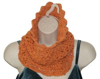 Infinity Scarf, Coral Cowl, Neckwarmer Scarf, Autumn Scarf, Circular Scarf, Crochet Cowl Scarf, Orange Cowl, Fall Fashion, Neck Scarf