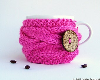 Valentines Coffee Sleeves, Valentines Coffee Cozy, Coffee Cup Sleeve, Coffee Cup Cozy, Tea Cozy, Coffee Cozy, Knit Coffee Sleeve, Pink Gifts