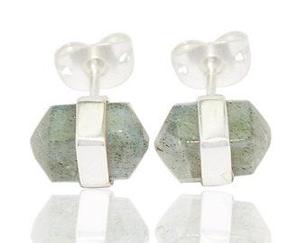 Labradorite Stud Earrings-posts-18KGold filled-silver-rose gold-Modern Geometric- Minimalist-Designer jewelry gift for her birthstone AHAAVI