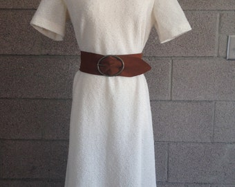 Vintage White Knit Cap Sleeve Dress