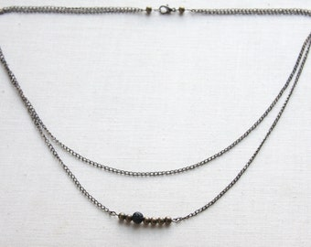 Celestial Skies Layer Necklace Multi Strand Necklace Dainty Jewelry Modern Minimalist Necklace Raw Rough Black Lava Stone Mixed Metal Chain
