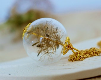 Dandelion Necklace, Gold Wishes, Golden Anniversary Gift, Make a Wish, Wildflower Jewelry, Real Flower Necklace, Flower Jewellery