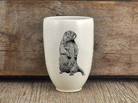Handmade Porcelain beer tumbler with woodchuck drawing Canadian Wildlife collection