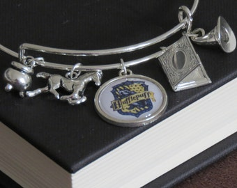 Harry Potter Hufflepuff Themed Charm Bangle Bracelet With Book Of Secrets and House Patronus