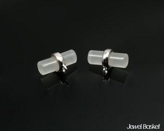White Smoky Pendant in Rhodium / 11mm x 7mm / SWSS087-P (2pcs)