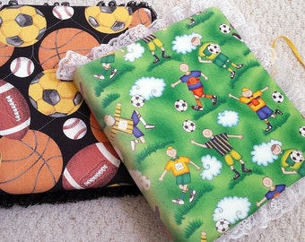 Sports Theme Binder Photo Albums, Scrapbooks, hand covered in Fabric and Lace Edged