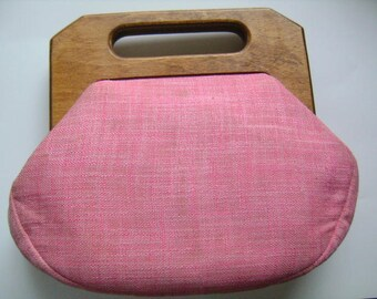 Lovely Vintage Fabric Tote Purse Pink Roses W/Natural Wood Wooden Top Handle Handbag Day and Night Accessory Bag Mothers Day Gifts For Women