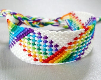 White and Rainbow Plaid Friendship Bracelet - Nine Color Rainbow
