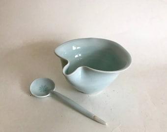 Celadon Porcelain Bowl w. Spout and Spoon