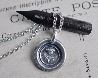 all seeing eye wax seal necklace … protection and guidance - Masonic eye - fine silver Victorian trinket wax seal jewelry