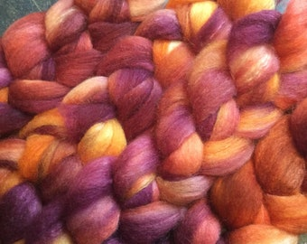 BFL and Silk Combed Top Roving Sunset Colorway