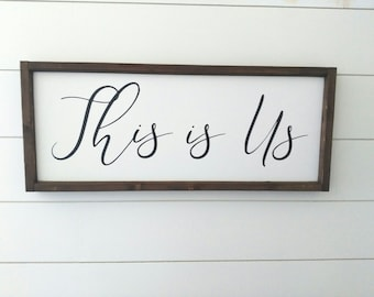 This is Us Painted Wood Sign - Fixer Upper Style Sign - Wedding Gift Sign - Gallery Wall Sign - This is Us Sign