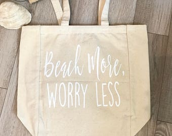 Beach More, Worry Less Canvas Tote Bag, Beach Bag, Market Bag, Grocery Bag, Canvas bag, Gifts for her, Gifts under 25, Funny tote, Birthday