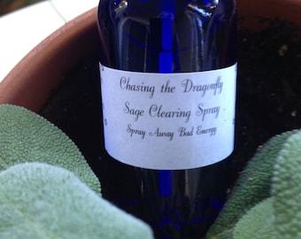 Sage Clearing Spray•smudge Spray•banish Bad Energy•dalmatian Sage Spray•2oz Cobalt Blue Bottles