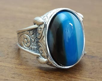 925K Sterling Silver Mens Ring With  Bulue Agate Stone