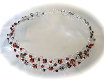 The Light of Other Days - necklace-crown - sterling silver - crystal - fiery sparkle