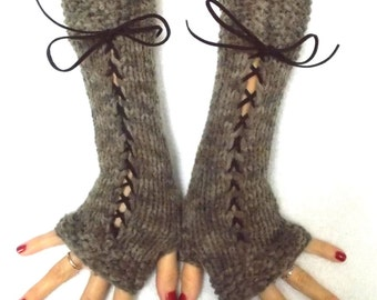 Fingerless Gloves in Brown Tones Corset Texting gloves Victorian Style