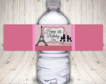Paris Birthday, Paris Party, Water Bottle Label, Paris Theme Party, Paris Printable, Paris Party Ideas, Paris Birthday Decor, Paris Label