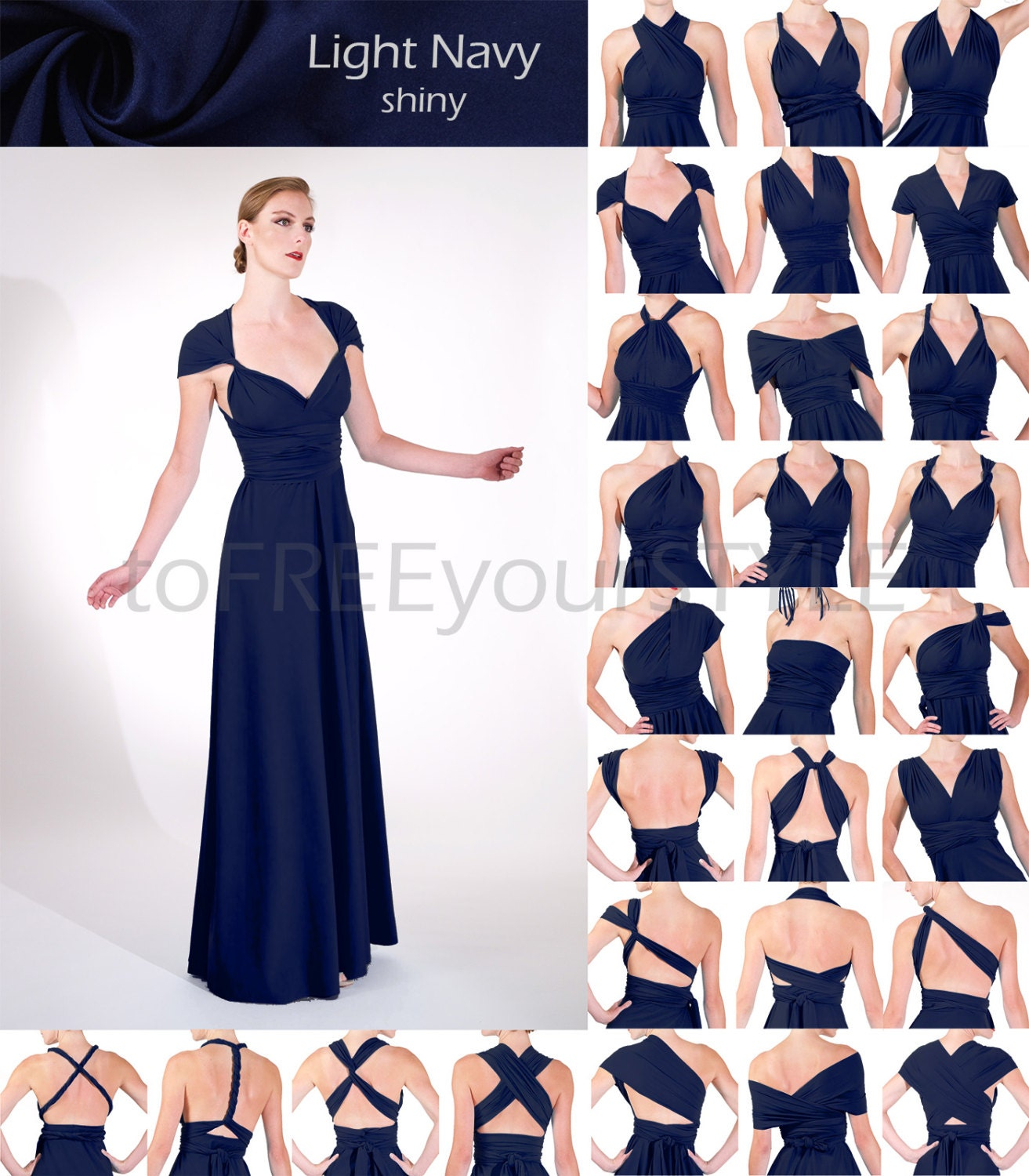 Long convertible dress in light navy blue shiny a line zoom ombrellifo Choice Image