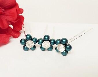 Blue Spruce Pearl Hair Pins - Set of 3 Bridesmaid Hair Pins - Rhinestone Flower Girl Hair Accessories