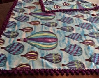 Balloon Fiesta Fleece Blanket with Bobble Crochet Border, Hot Air Balloons
