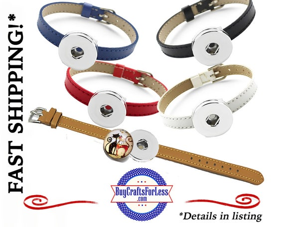 GENUINE Leather BRACELET with SNaP BaSE, choose from 5 Colors +FREE Shipping & Discounts*