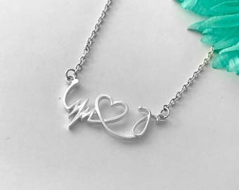Nurse gift necklace LPN  RN necklace / Nurses / Nursing Student / Nurse gift - ekg - heart - stethoscope necklace