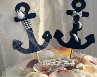 Anchor Wedding Cake Topper, Nautical, Wedding, Cake Topper, Navy Wedding, Sailor's, Beach, Sailboat, Anchor, Coastal Wedding Cake